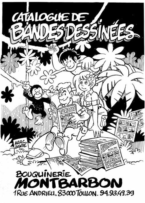 1992-Illustration-pour-CV-Catalogue-bandes-dessinées-Librairie-Montbarbon-Toulon
