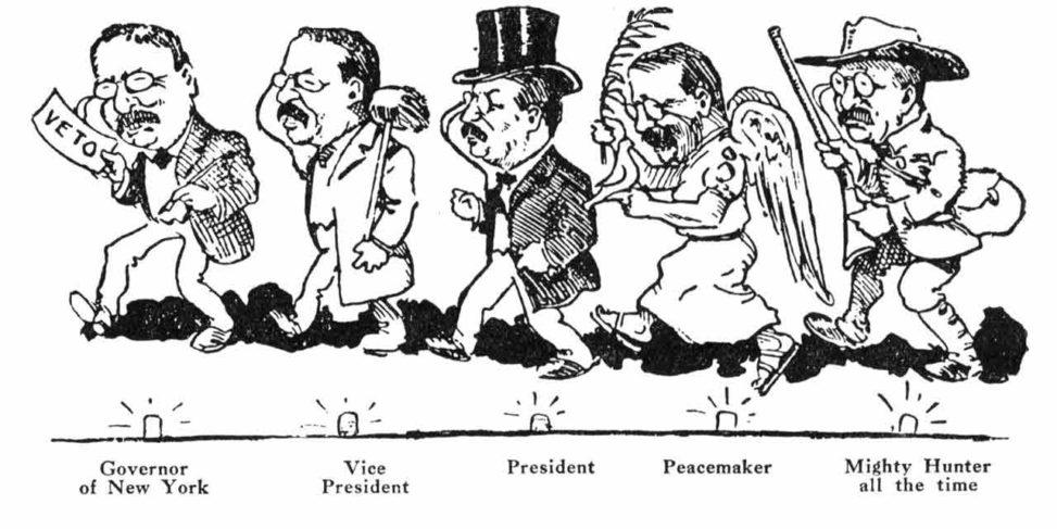 Theodore Roosevelt par William Charles Morris dans le SPOKESMAN REVIEW en 1908