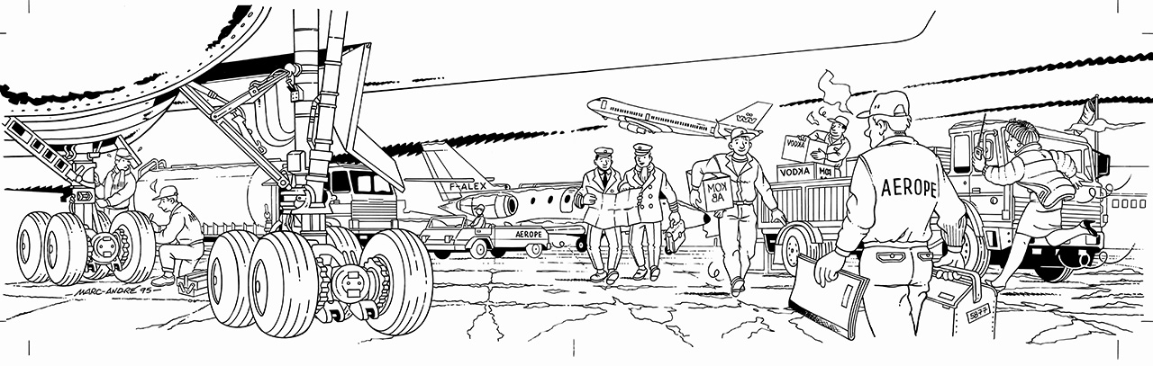 1995-Carte-Aerope-dessin-original-noir-et-blanc