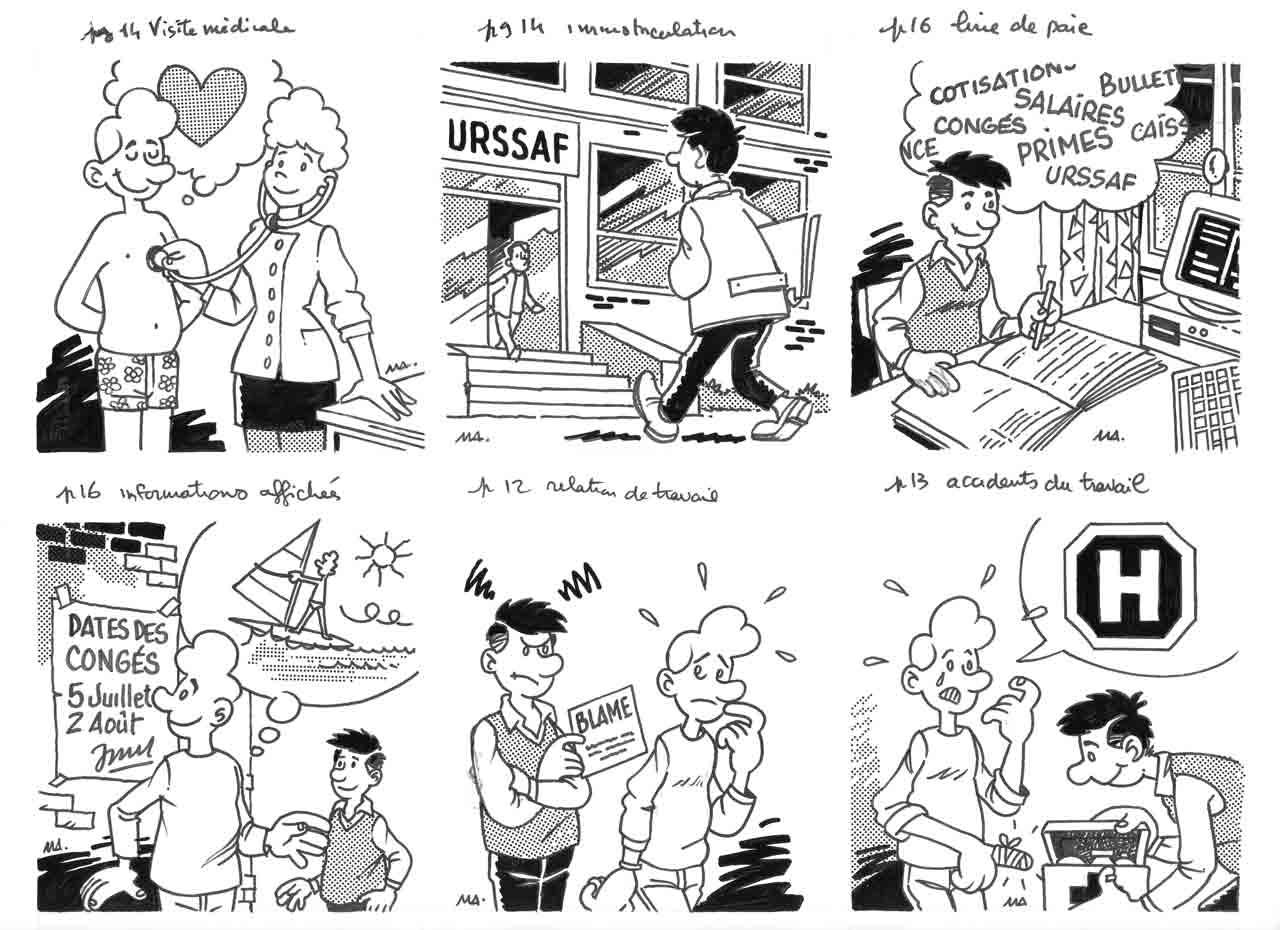 Vignettes intérieures-numéro spécial-Métiers février 1995 Marc-André BD Illustration Graphisme Limoges