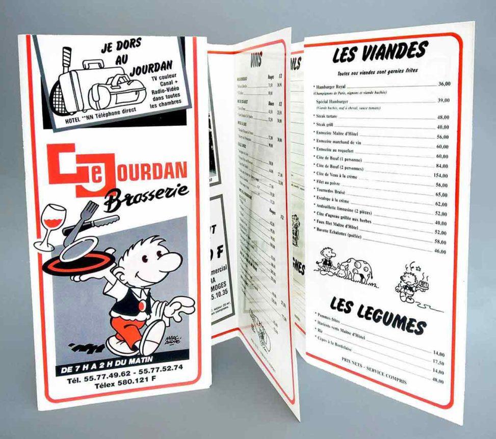 1988-Carte-Brasserie et Restaurant Le-Jourdan-Agence-Multi-Pub