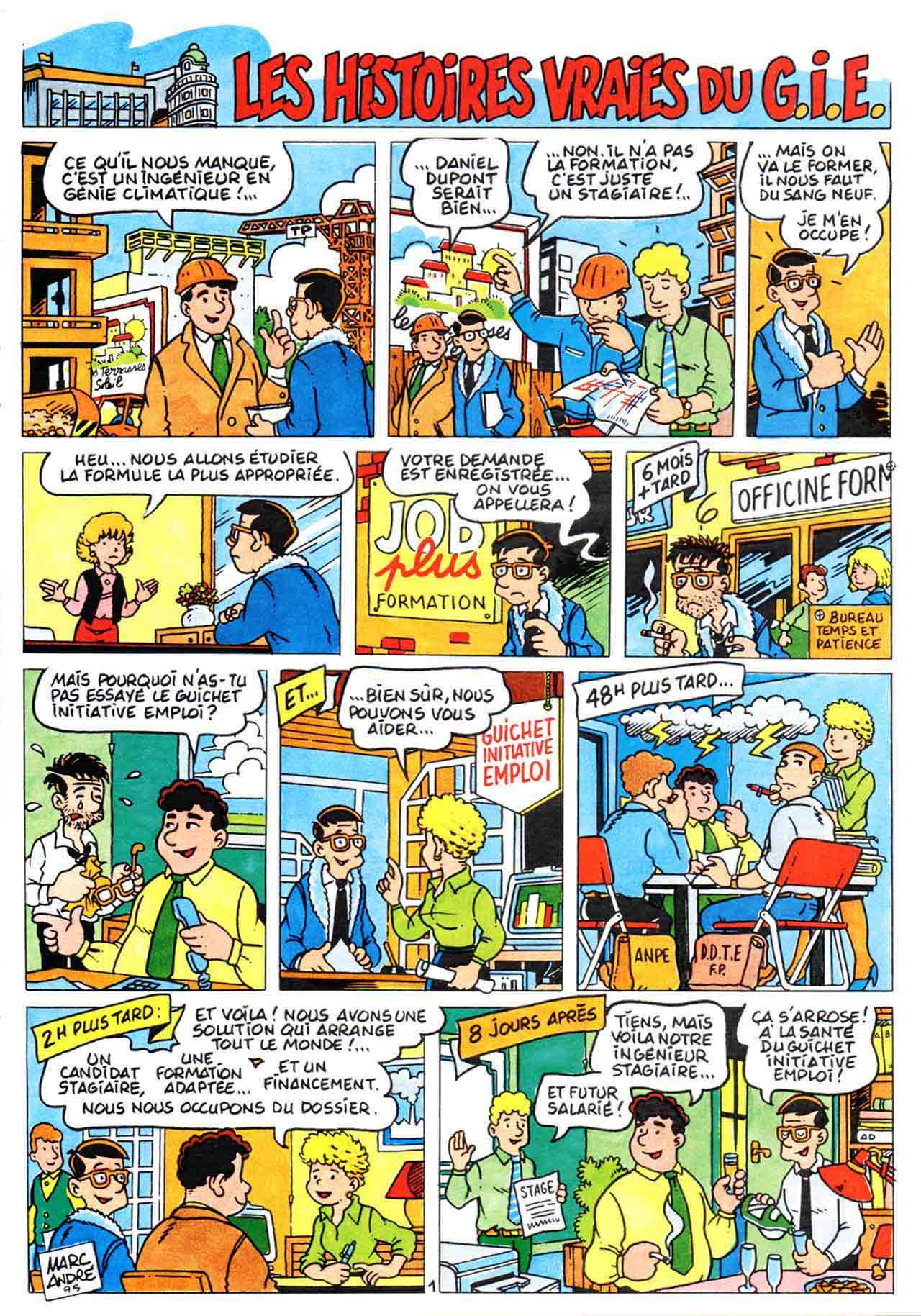 Les Histoires vraies du GIE bande dessinée dans le numéro 43 de la la revue ACTIONS (février 1996) - CCI Limoges et Haute-Vienne