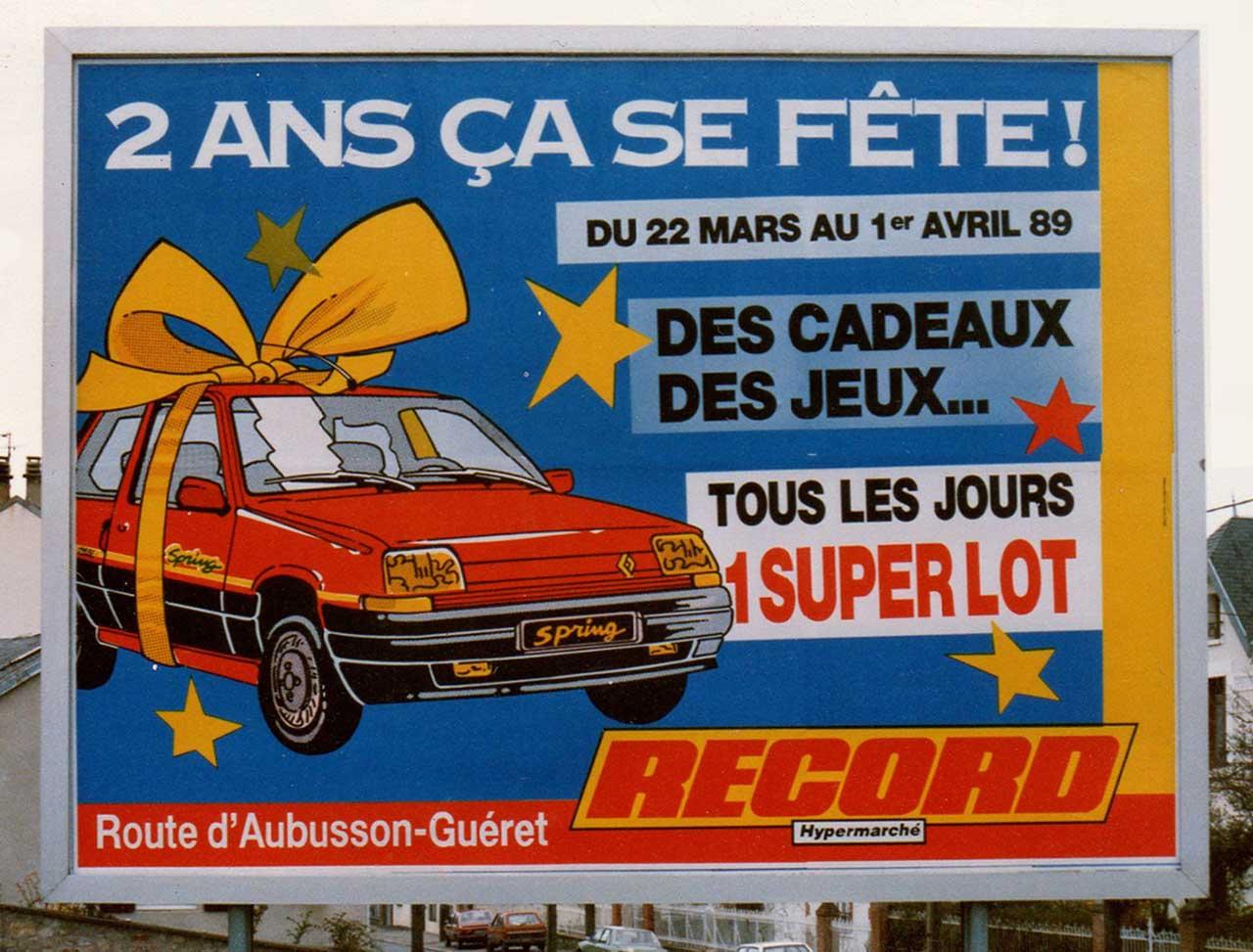 1989-Affiche-4x3-2-ans-ça-se-fête-Magasins-Record-Agence-Scandere-Limoges