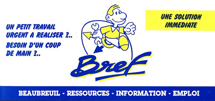dépliant Bref Beaubreuil Ressources Information Emploi Services 1989
