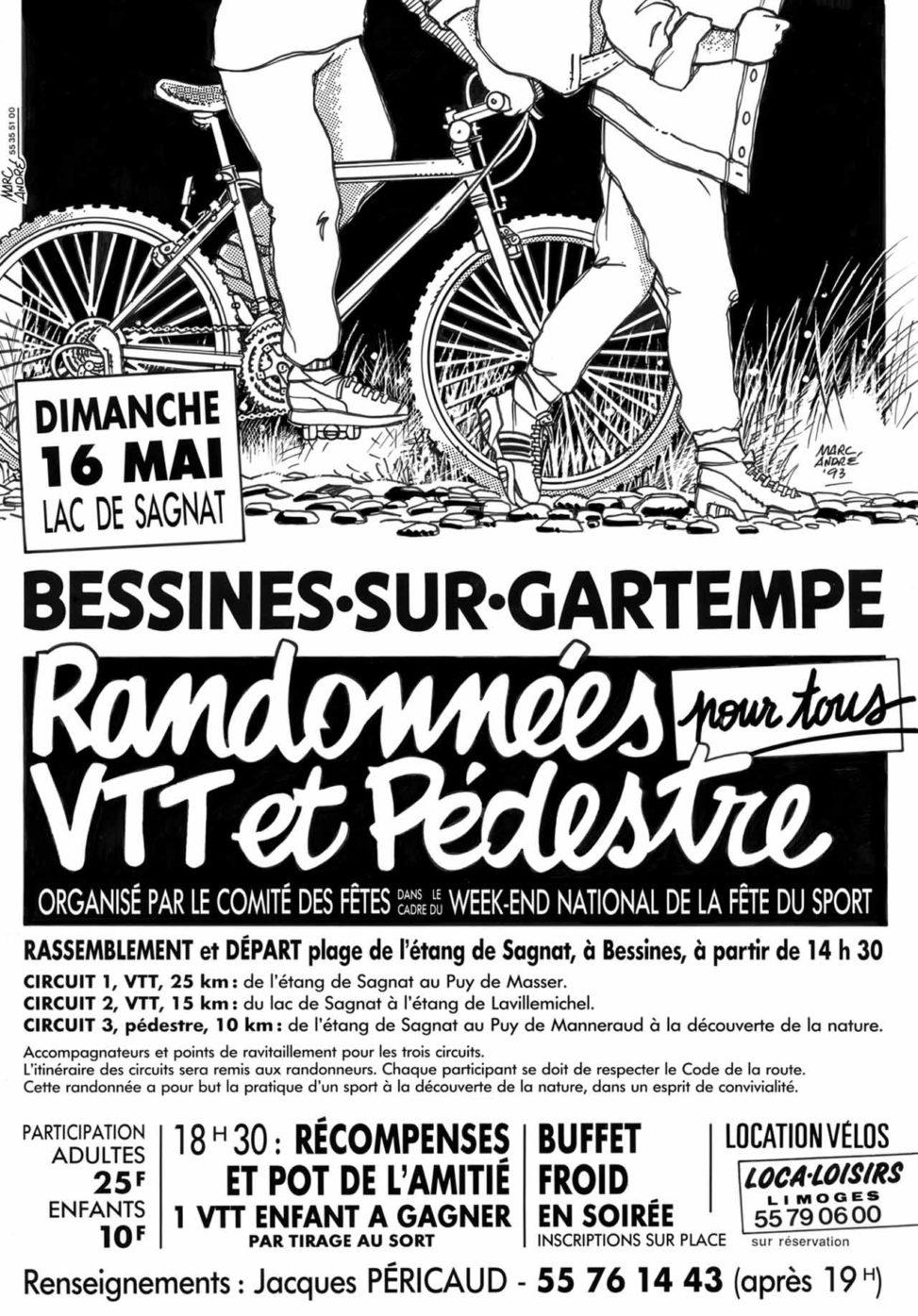 Affiche Randonnées VTT et pédestre Comité des Fêtes de Bessines