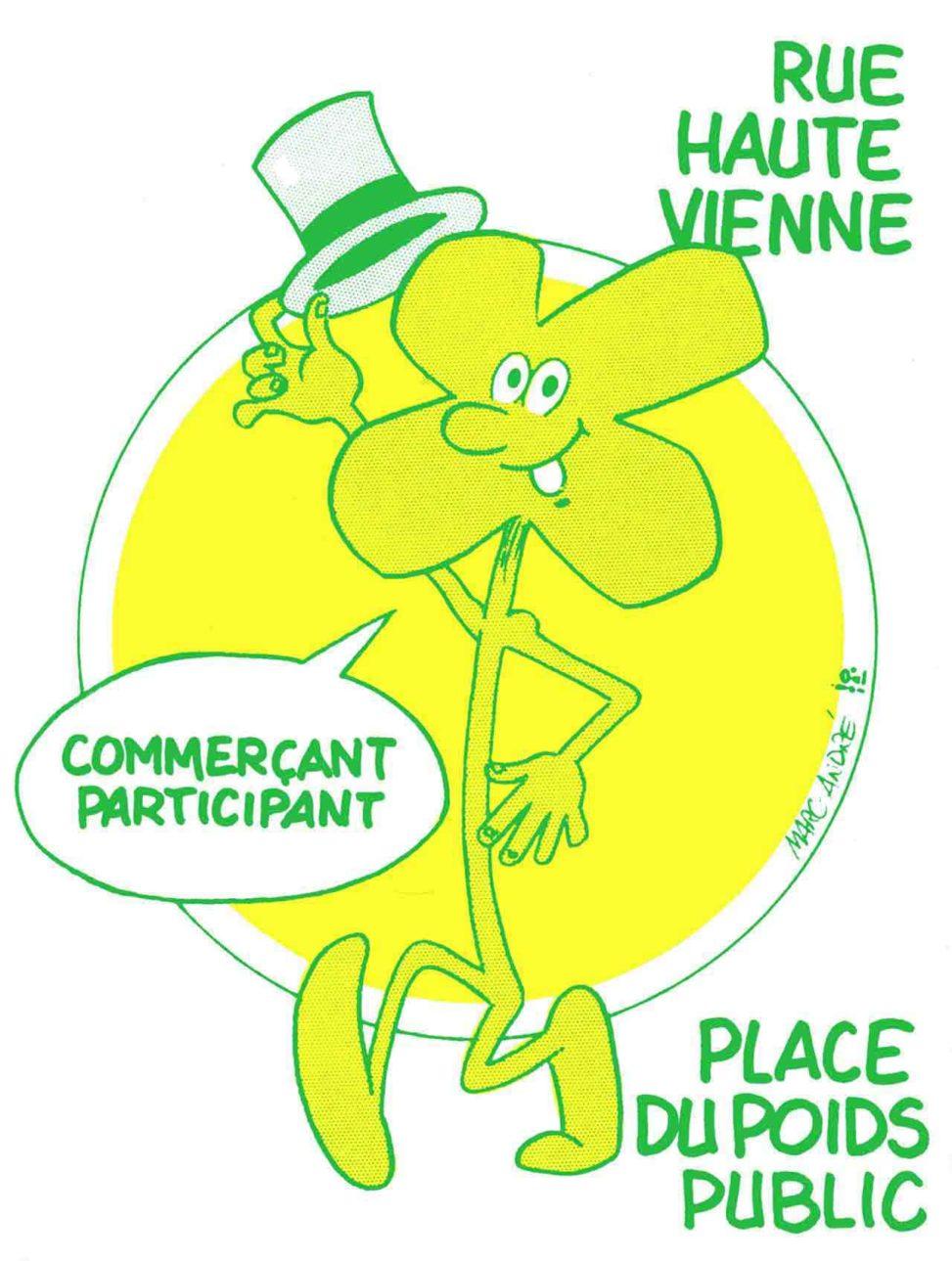 Le trèfle souriant, personnage Association des commerçants Rue Haute-Vienne et Place du Poids-Public 1985.