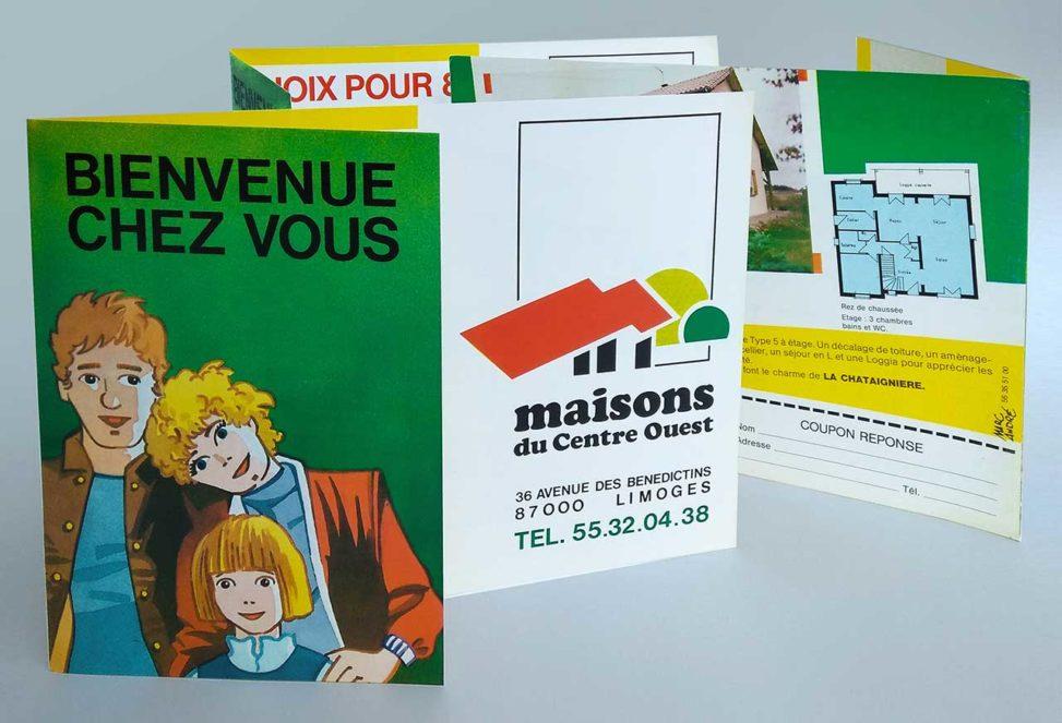 Logotype et plaquette publicitaire pour la société Maisons du Centre-Ouest en 1988.