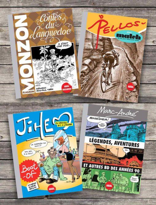 2019-Presentation 4-ouvrages BD Editions-ABDL Pellos Match Best-of Jihem Monzon et Tibéri Contes du Languedoc Marc-André Légendes aventures et autres BD des années 90