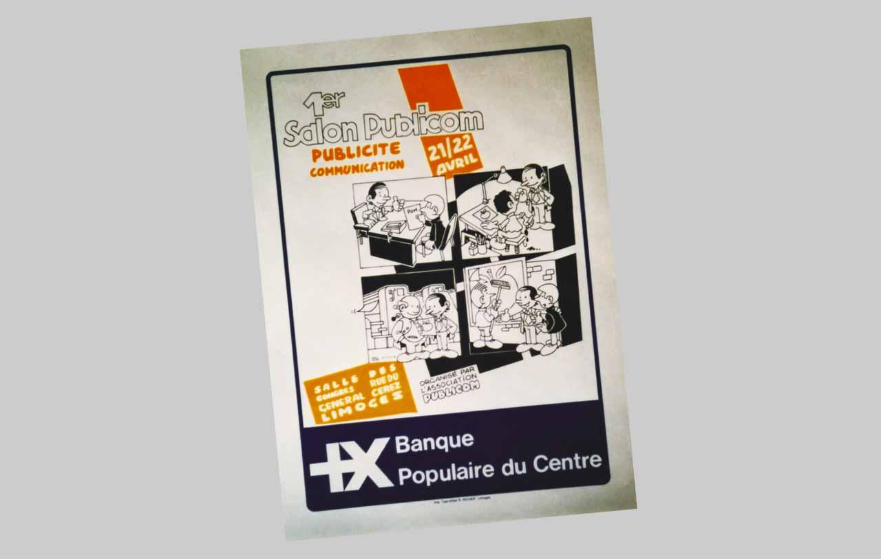 Affiche A3 Salon Publicom Publicité et Communication 1986 Marc-André