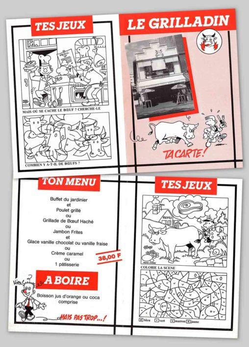 1989-Le-Grilladin-Carte-enfants-Agence-Multi-Pub-Limoges Marc-André
