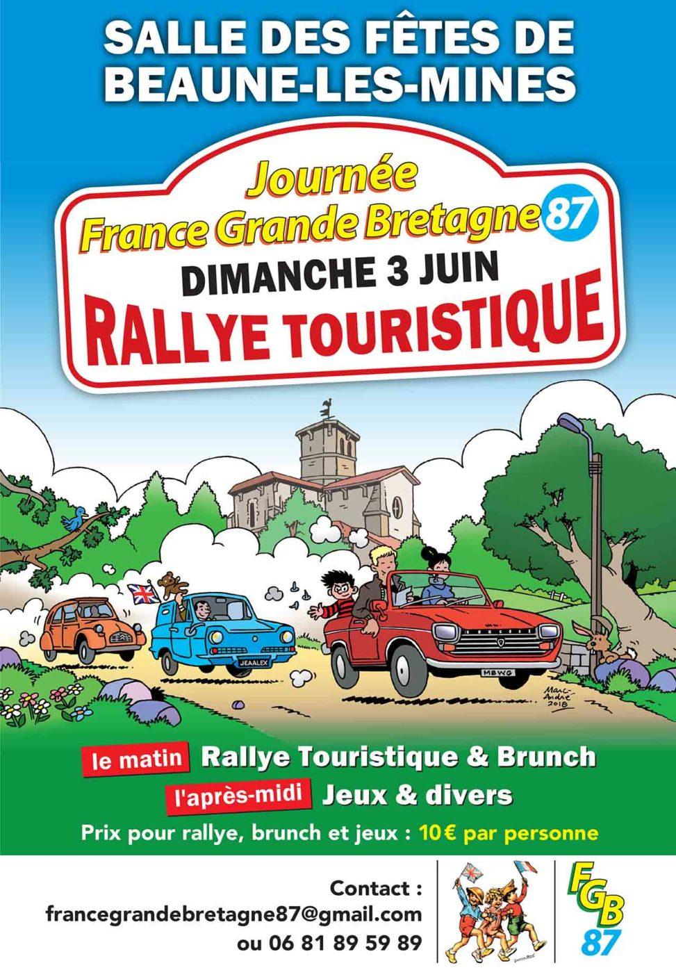 2018-Affiche-et-flyer-pour-le-rallye-touristique-de-Beaune-les-Mines-Association-France-Grande-Bretagne Limoges