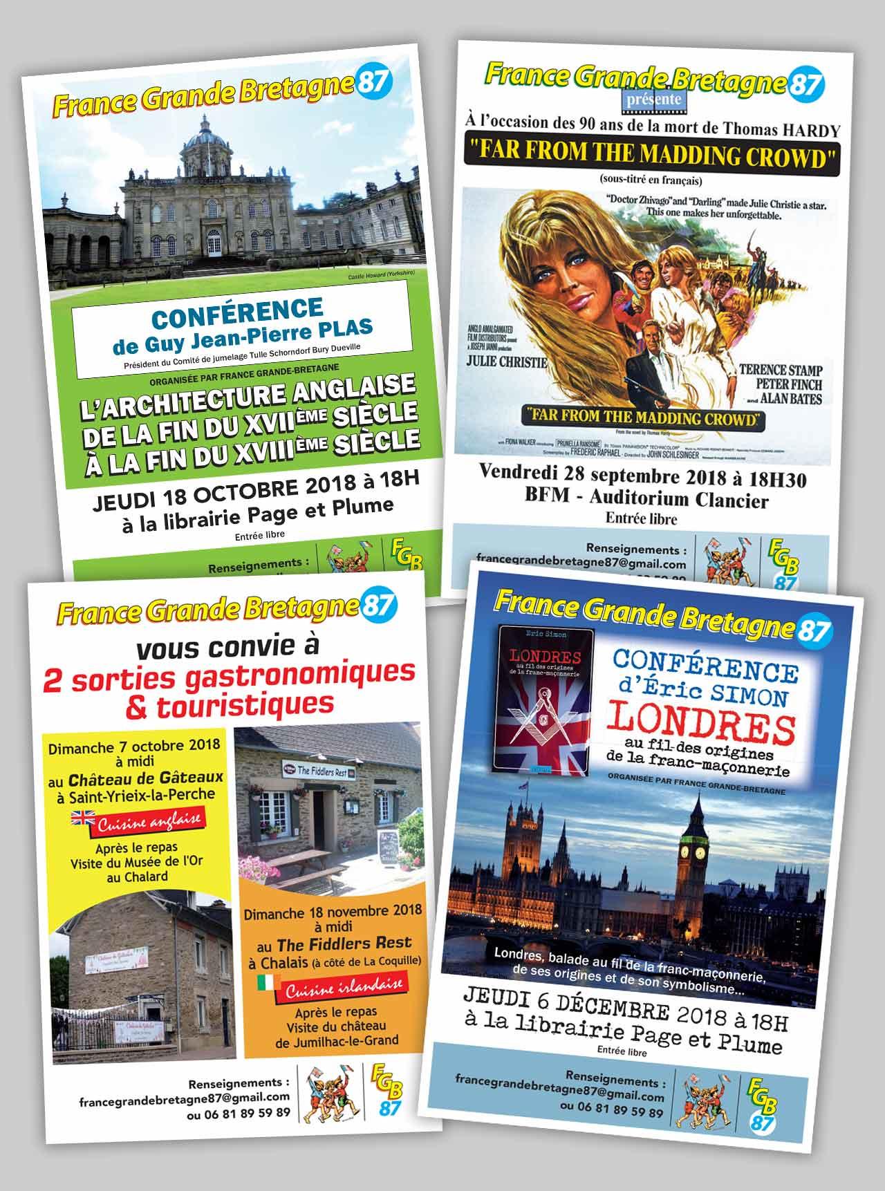 Affiches-et-flyers-France-Grande-Bretagne Limoges-2018 Marc-André conférences films sorties gastronomiques Guy Jean-Pierre Plas Eric Simon Thomas Hardy Far from the madding crown