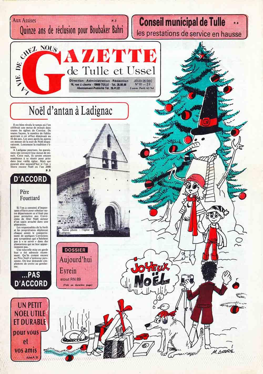 Illustration dans la Gazette de Tulle et Ussel n° 61, 25 décembre 1980 Marc-André