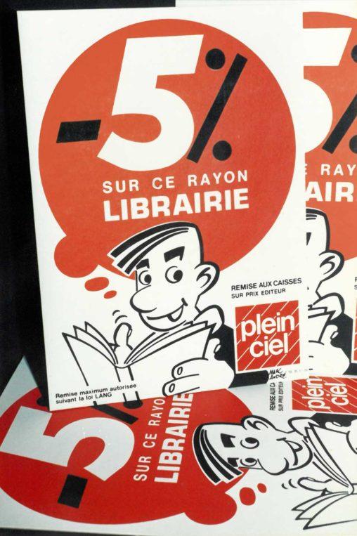 PLV pour Librairie Plein-Ciel Centre commercial de Corgnac Limoges 1987