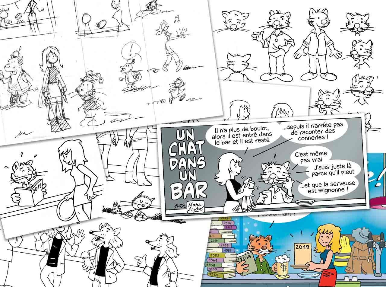 Un chat dans un bar bande dessinée de Marc-André Dumonteil 2018 et 2020