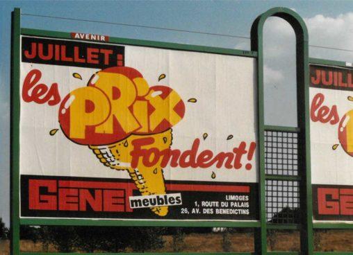 1989-07-Affiche-4x3-Les-prix-fondent-Meubles-Genet-Agence-Scandere-Limoges-1989 Marc-André