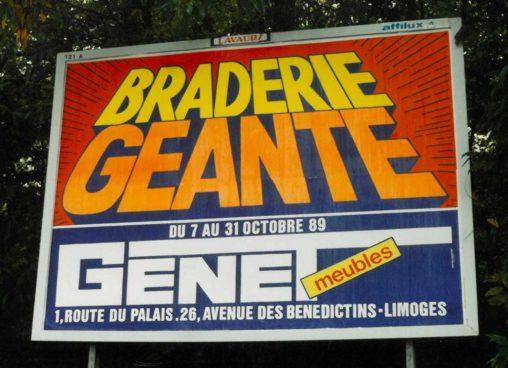 1989-10-Affiche-4x3-Meubles-Genet-Braderie-géante-Agence-Scandere-1989 Marc-André