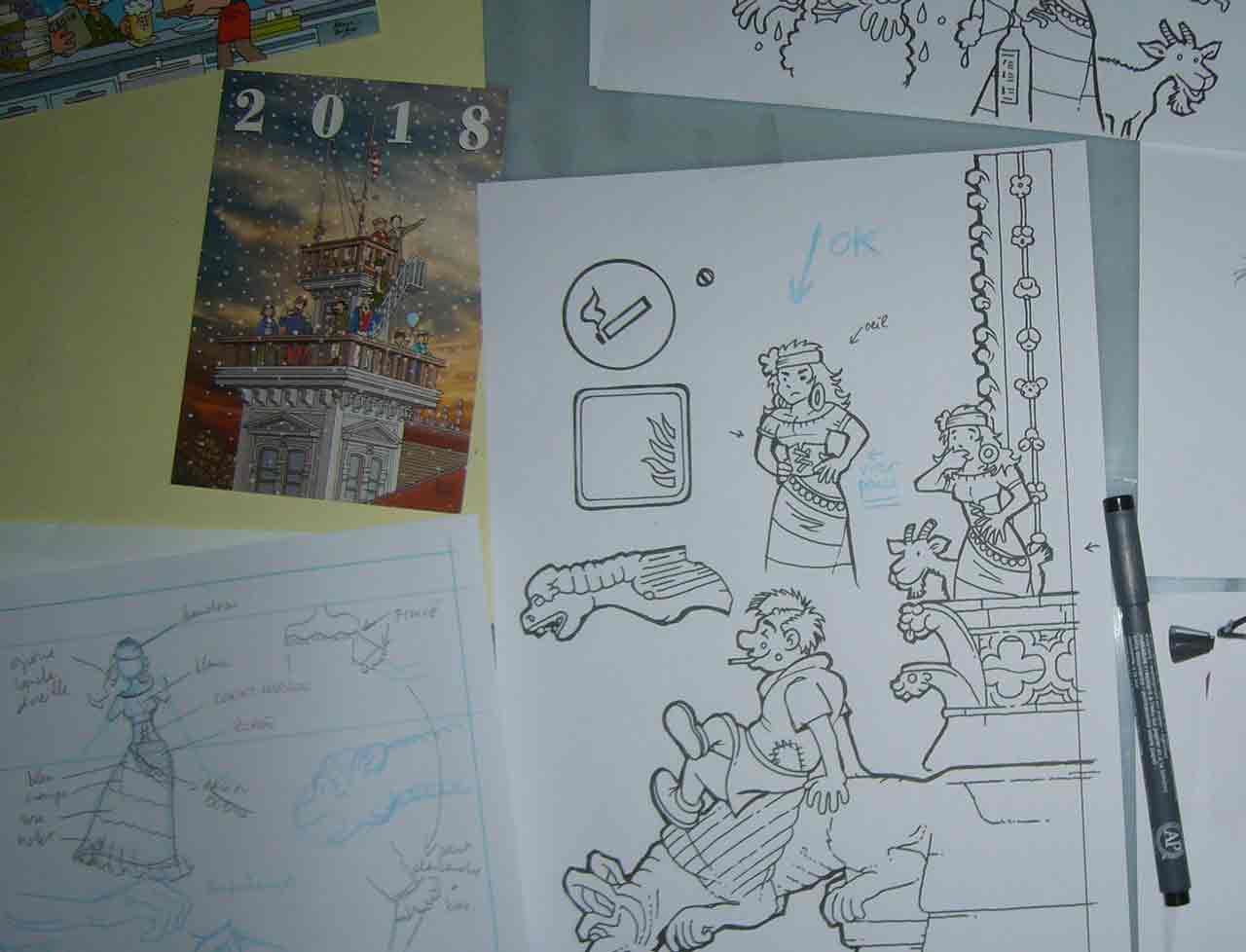 Crayons pour carte de vœux 2019 - Marc-André graphisme illustration Bande desssinée Limoges