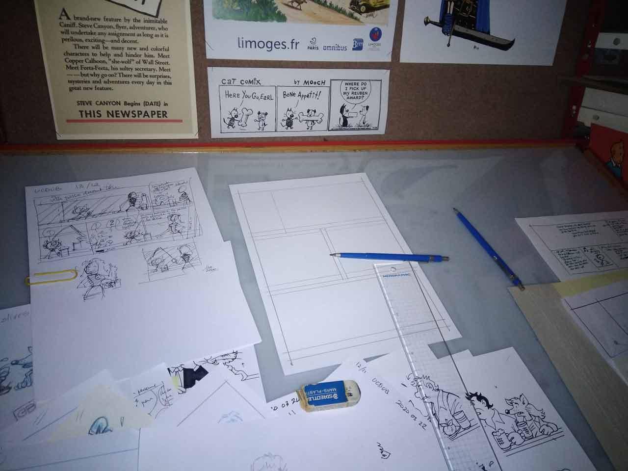 Crayons pour la BD Un Chat dans un bar-2020-Marc-André graphisme illustration bande dessinée Limoges
