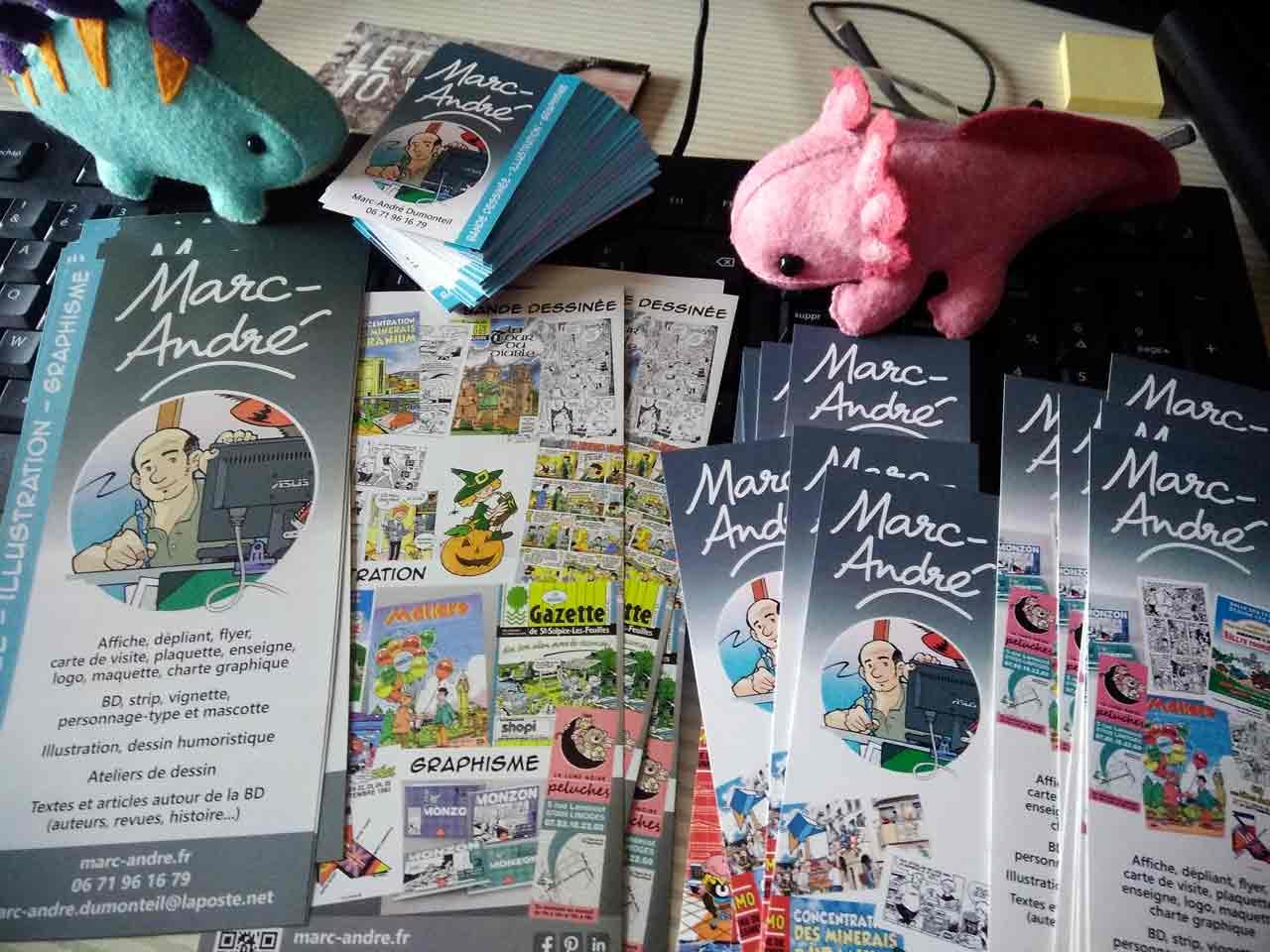 Cartes-de-visite-marque-pages,-flyers-et-dinosaures-2020 Marc-André graphisme illustration bande dessinée Limoges