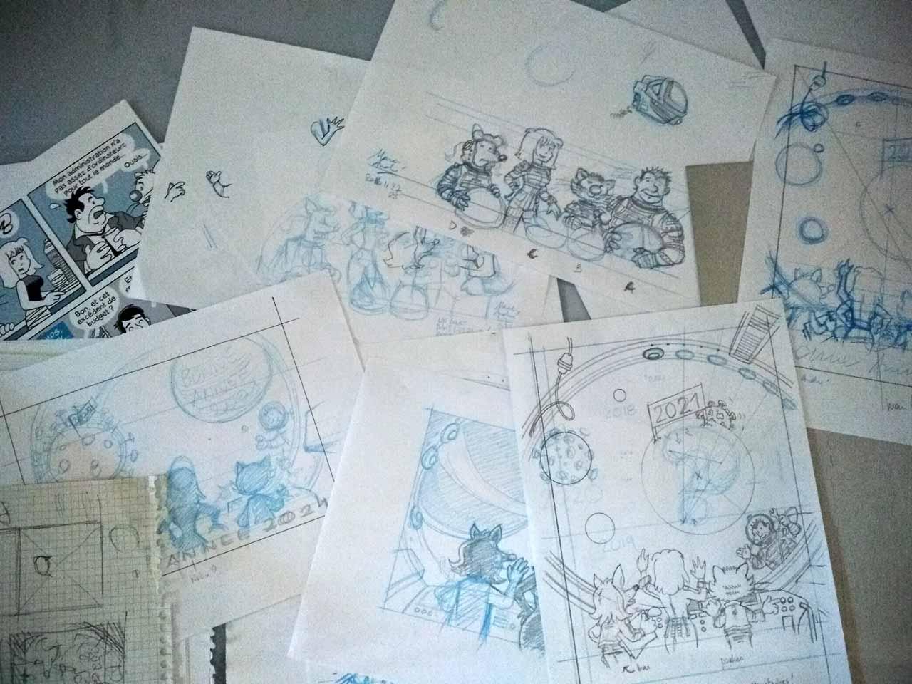 Crayons pour carte de Vœux 2021 Marc-André graphisme illustration bande dessinée Limoges