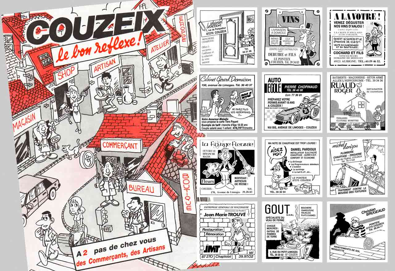 Fascicule Couzeix Le-Bon Reflexe 1985 et plusieurs pavés promotionnels Association des commerçants et artisans de Couzeix - Marc-André