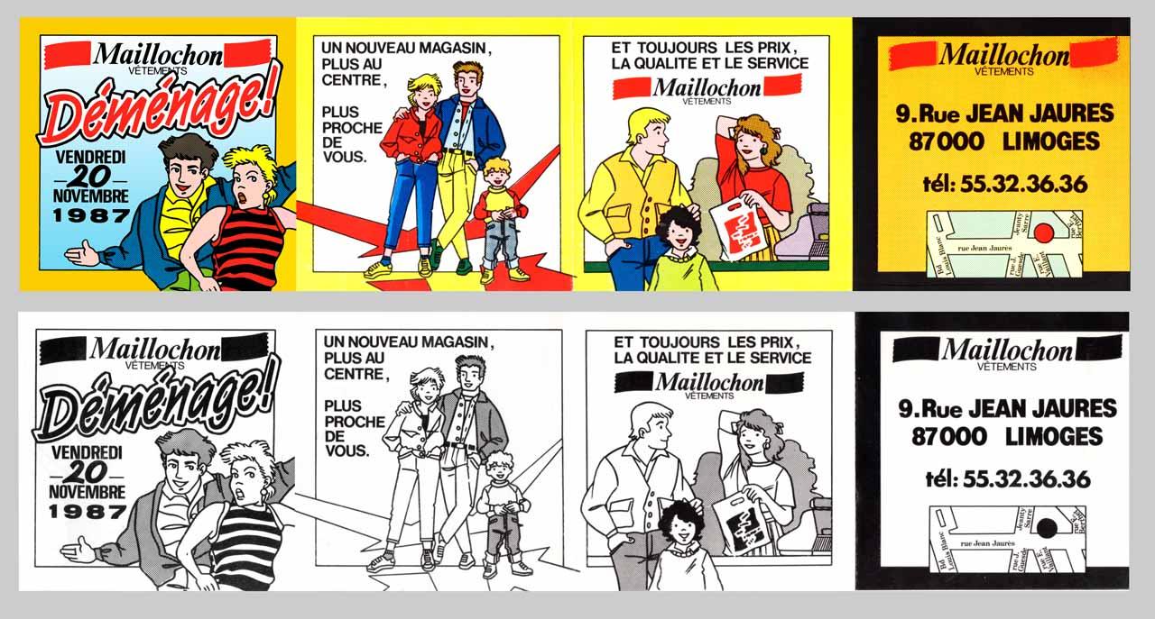 flyer déménagement magasin vêtements Maillochon Limoges 1987 Marc-André