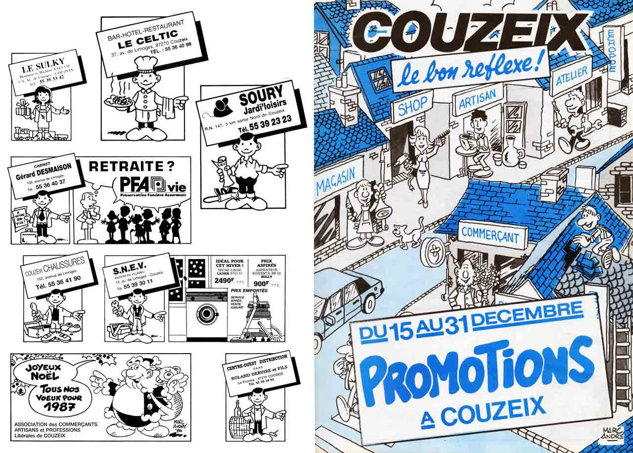 Fascicule Couzeix Le-Bon Reflexe décembre 1985 et plusieurs pavés promotionnels Association des commerçants et artisans de Couzeix - Marc-André