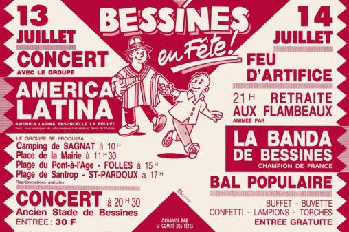 Bessines en fête affiche de Marc-André 13 et 14 juillet 1991 Comité des fêtes