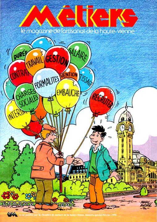 Couverture de la revue MÉTIERS de la Chambre des Métiers de la Haute-Vienne en 1995 Marc-André BD Illustration Graphisme Limoges