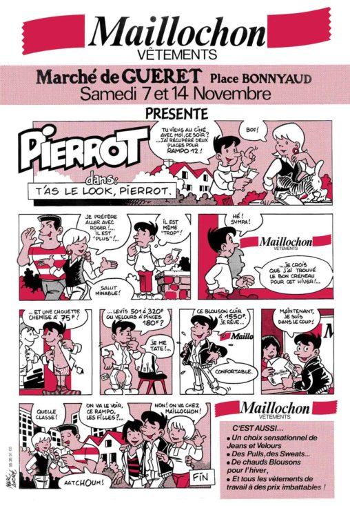 Flyer bande dessinée Maillochon 1987 T'as le lok Pierrot ! Marc-André BD Illustration Graphisme Limoges