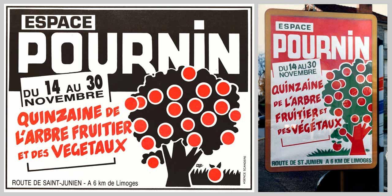 Pournin-Quinzaine-arbre-fruitier-demi-page-presse-dans-Info-Magazine-152 et affiche pour panneaux municipaux-1986 Marc-André Limoges