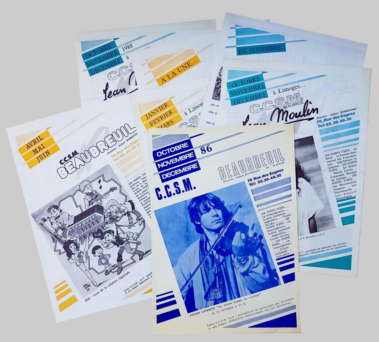 Maquette Programmes CCSM Beaubreuil Jean Moulin 1986-1988 Marc-André