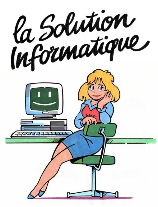 Secrétaire et signature pour CERIG, la solution Informatique 1993 Marc-André BD Illustration Graphisme Limoges