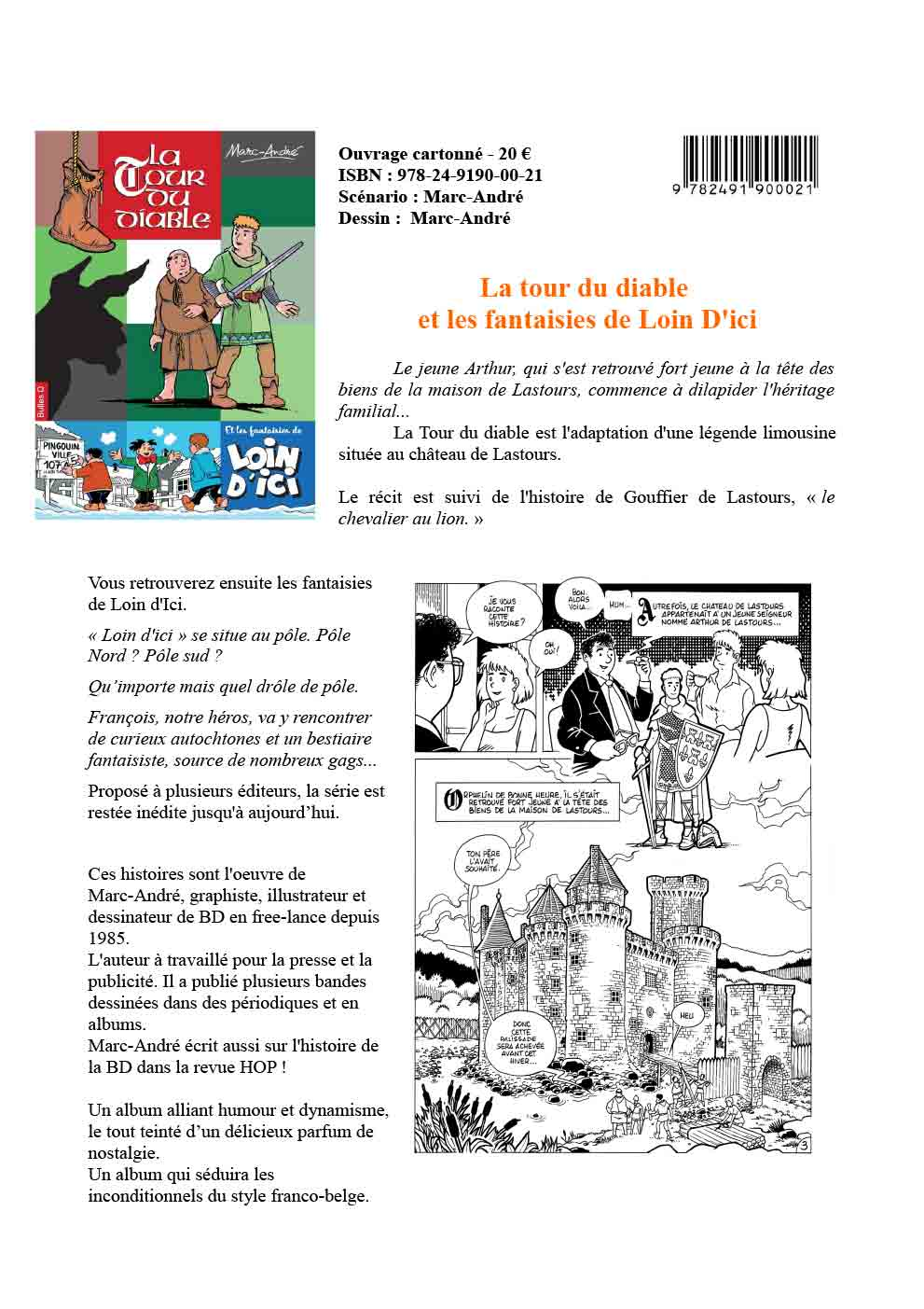 La Tour du diable et les fantaisies de Loin d'Ici Fiche promotion album Bulles O 2021 Marc-André BD Illustration Graphisme Limoges