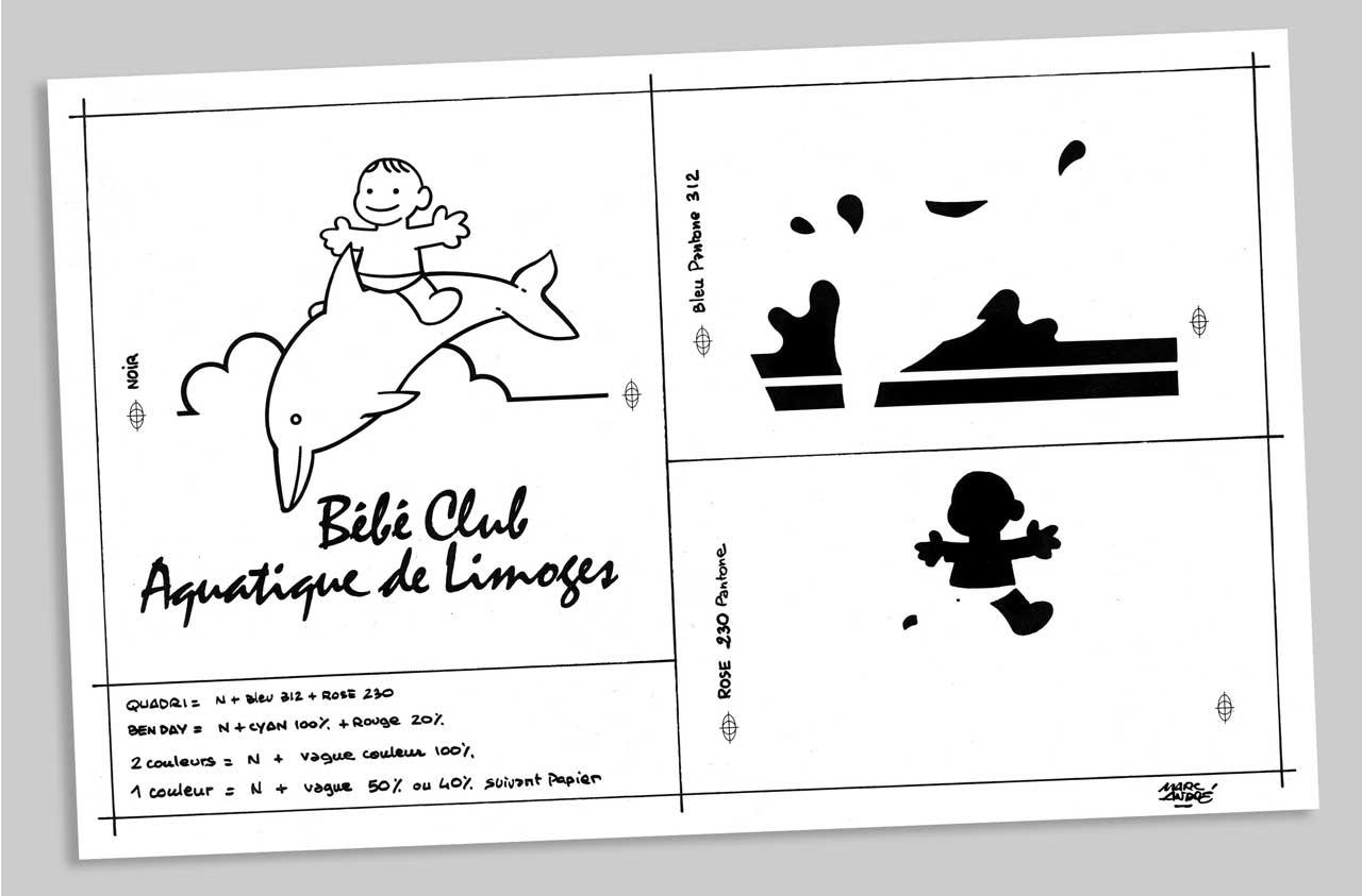Logotype pour le Bébé Club Aquatique de Limoges-1989 - Marc-André BD Illustration Graphisme Limoges