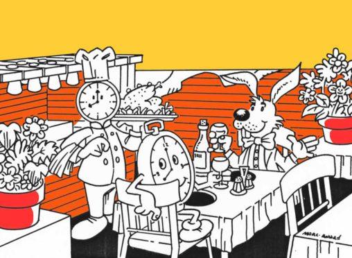 Restaurant L'Horloge Gourmande trois illustrations couleur- 1989 Marc-André BD Illustration Graphisme Limoges