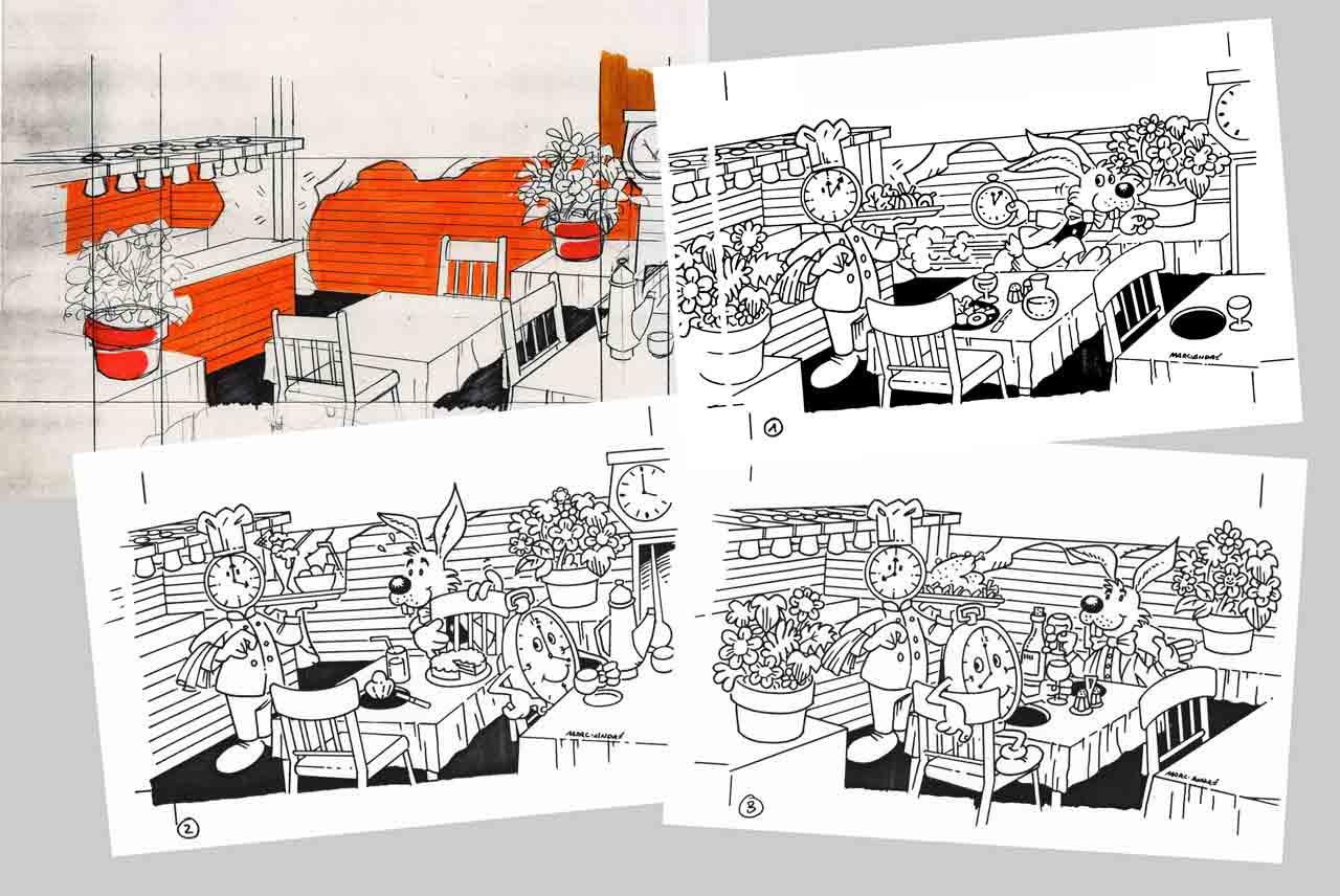 Restaurant L'Horloge Gourmande trois séquences couleur- 1989 Marc-André BD Illustration Graphisme Limoges