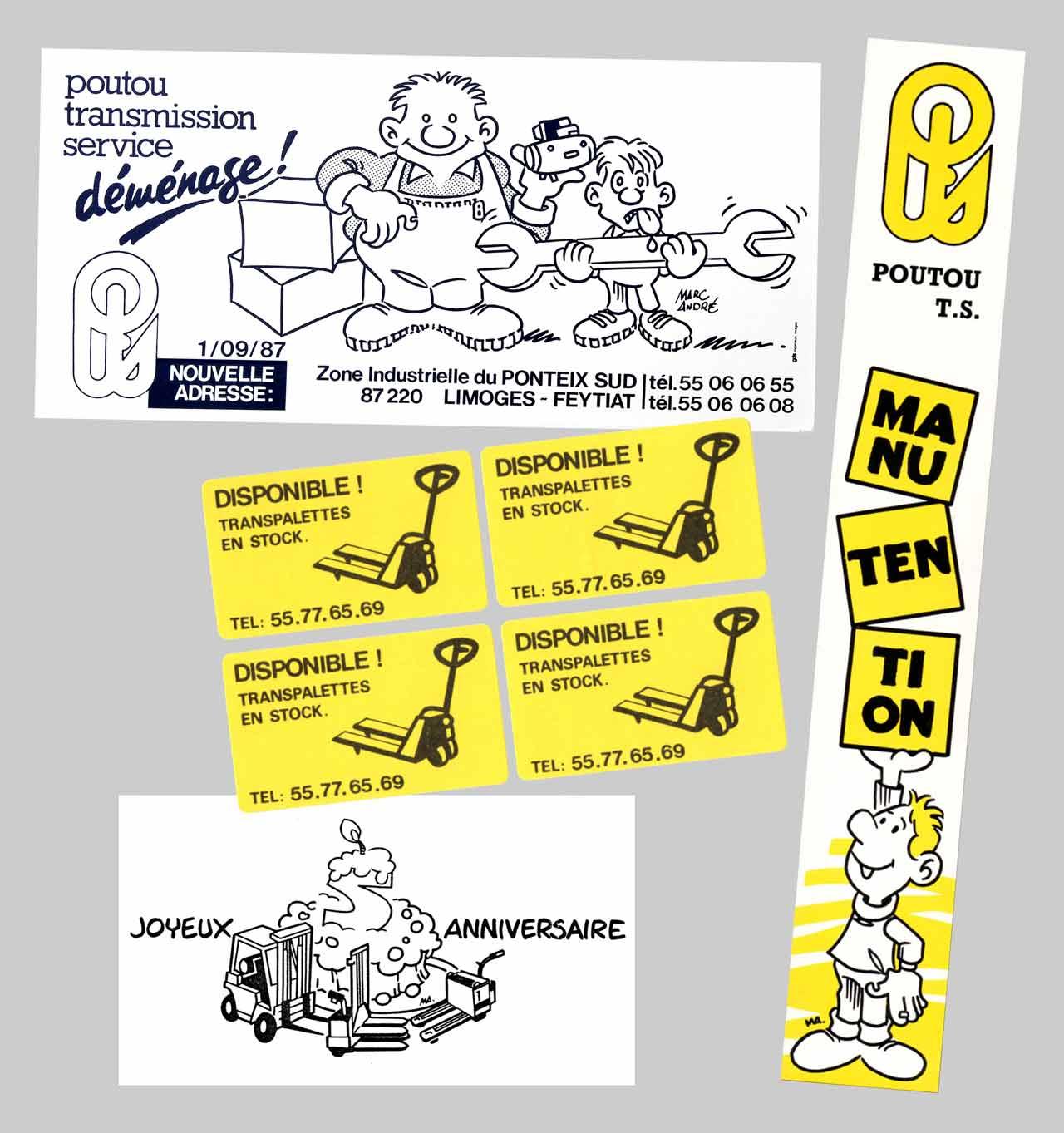 Illustrations Poutou Transmission Service 1986-87  entêtes et dos de classeurs autocollants cartes Marc-André BD Illustration Graphisme Limoges