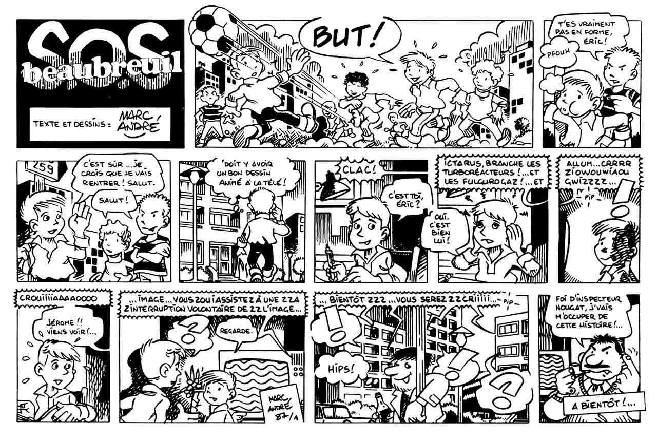 SOS Beaubreuil dans Le Nouveau Journal de Beaubreuil janvier 1987 original Marc-André BD Illustration Graphisme Limoges