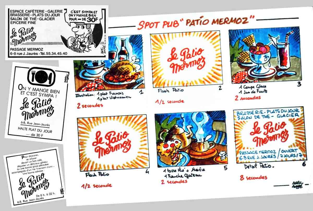 Le Patio Mermoz restaurant story-board pour spot publicitaire cinéma et annonces presse Marc-André BD Illustration Graphisme Limoges