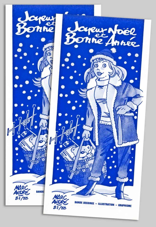 Mademoiselle Noël - Carte de vœux 1988 Marc-André BD Illustration Graphisme Limoges