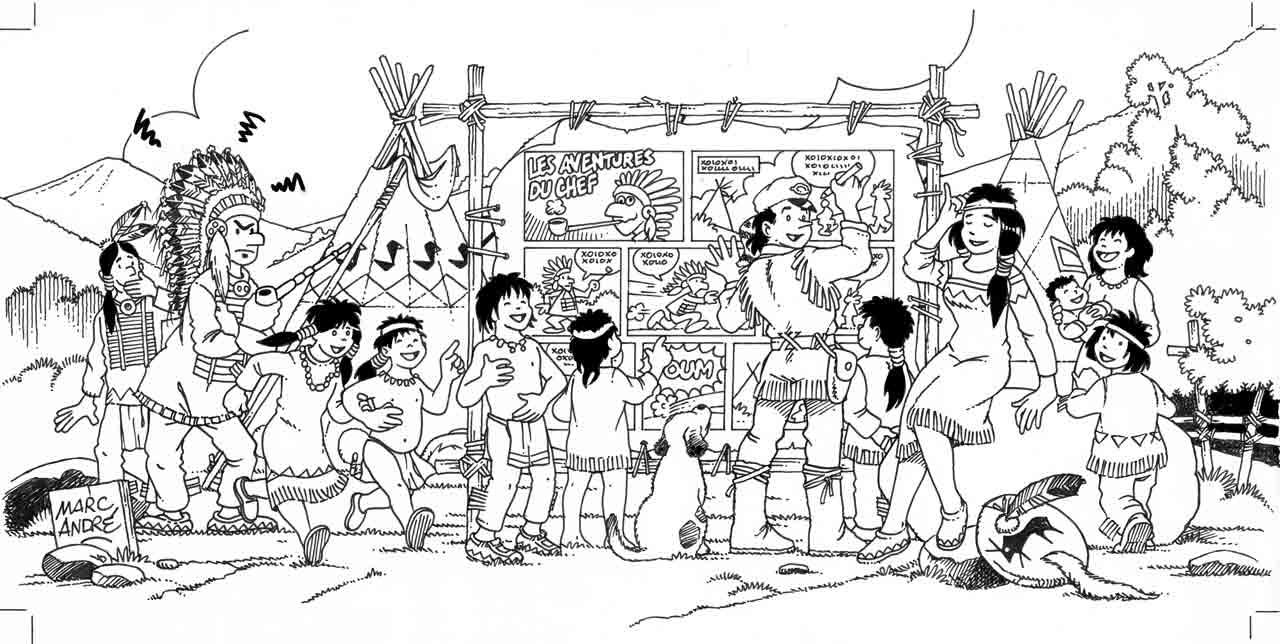 Illustration noir et blanc pour Carte vœux 1996 Marc-André BD Illustration Graphisme Limoges Indiens Trappeur Les aventures du chef