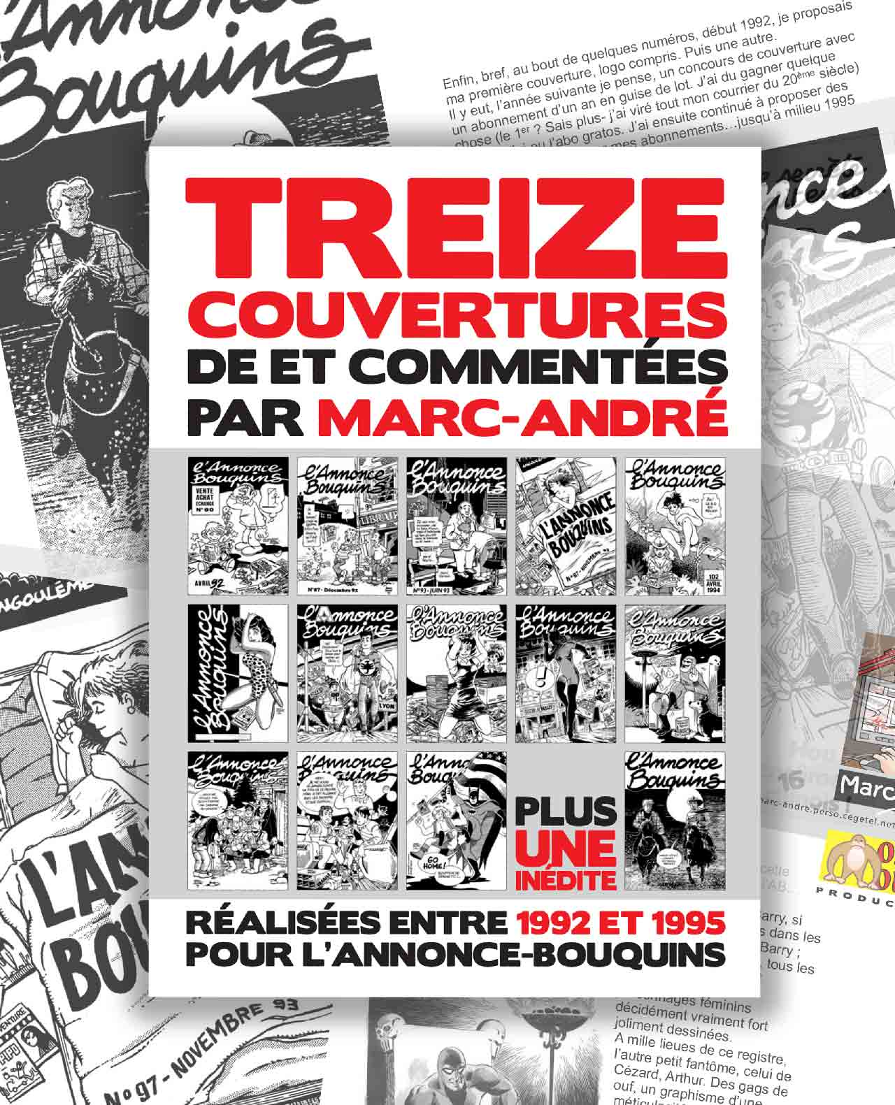 13 couvertures de L'annonce-Bouquins par Marc-André 1998 - 1992-1995 - Bande dessinée - Libourne - Marc-André BD Illustration Graphisme - Limoges