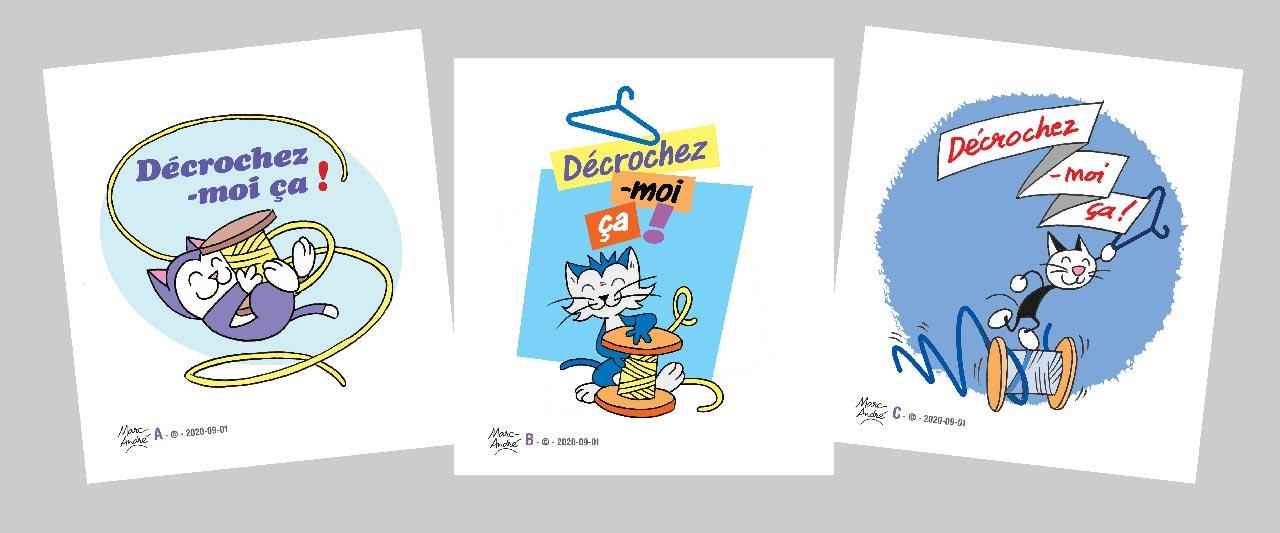 Association Décrochez-moi-ça : trois  projets de logotype en 2020. Marc-André BD Illustration Graphisme Limoges Bâtiment 25 tiers-lieu Marceau