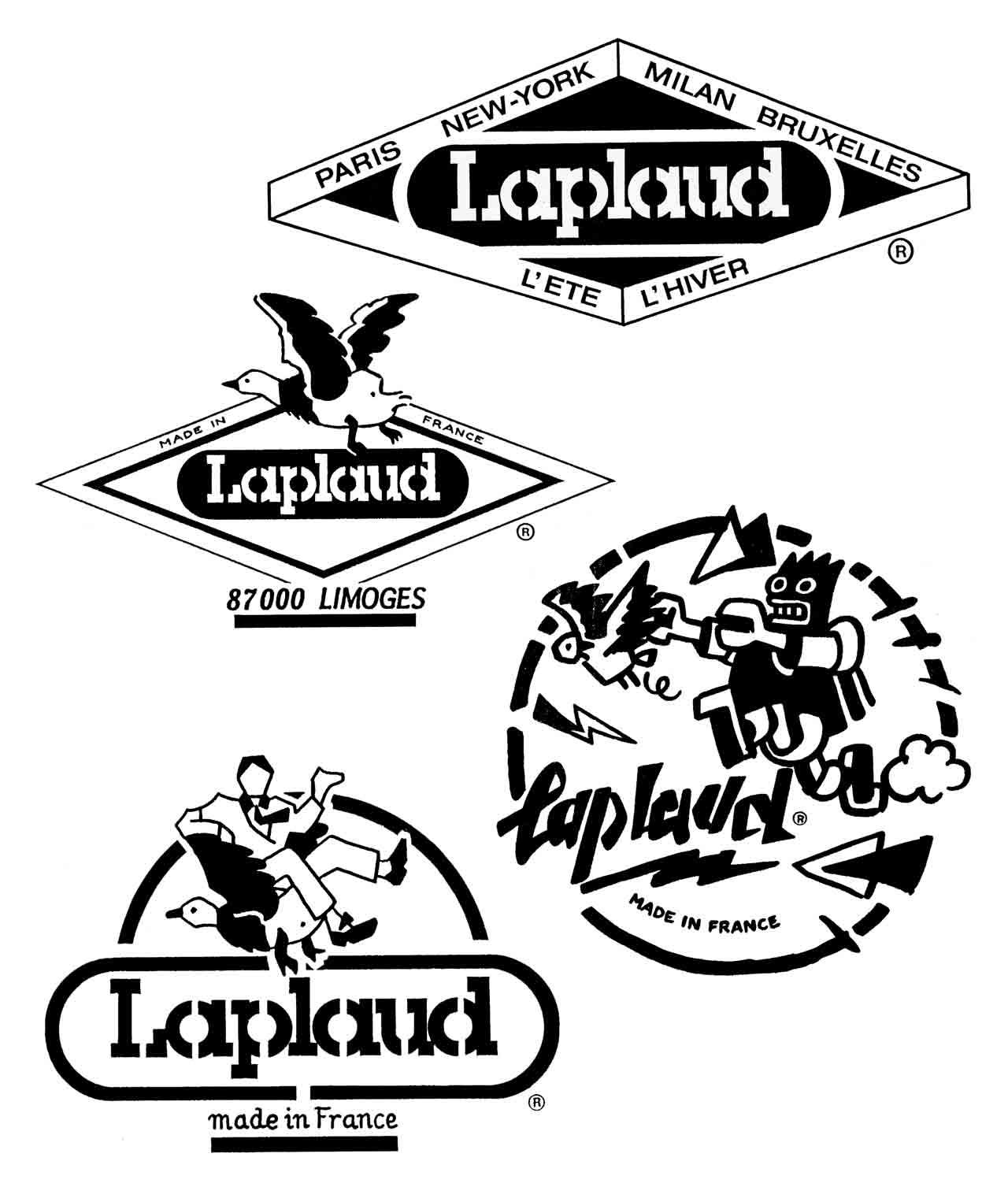 Etiquettes pour les textiles Laplaud à Limoges 1986 Marc-André BD Illustration Graphisme Limoges