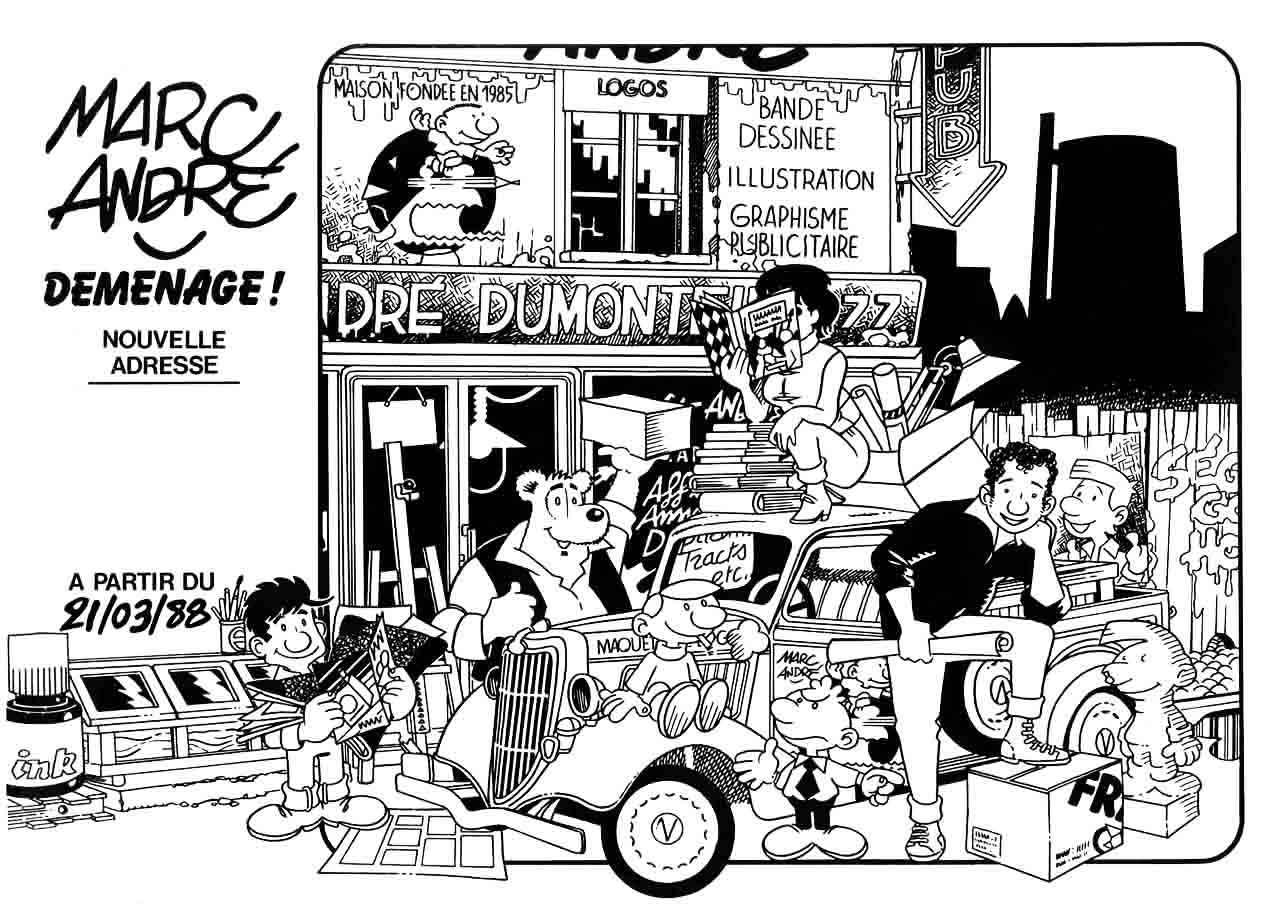 Un petit flyer pour mon déménagement en 1988. Marc-André BD Illustration Graphisme Limoges
