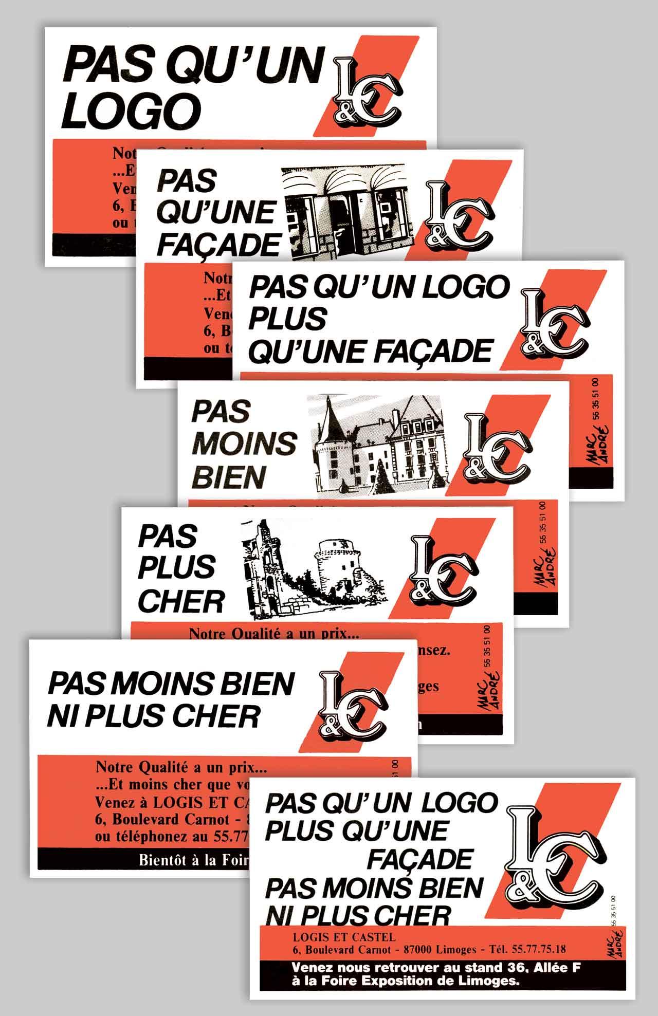 Annonces-presse Campagne maisons Logis & Castel. 1987 Marc-André BD Illustration Graphisme Limoges