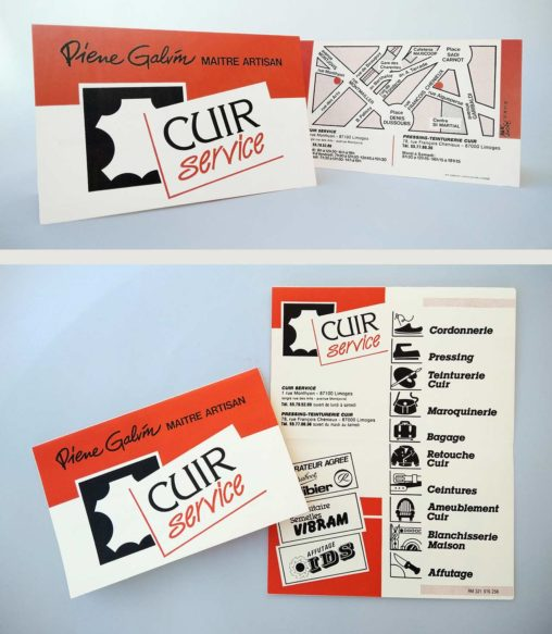 Carte, logotype, pictogrammes et flyer Cuir Service Limoges 1988. Marc-André BD Illustration Graphisme Limoges
