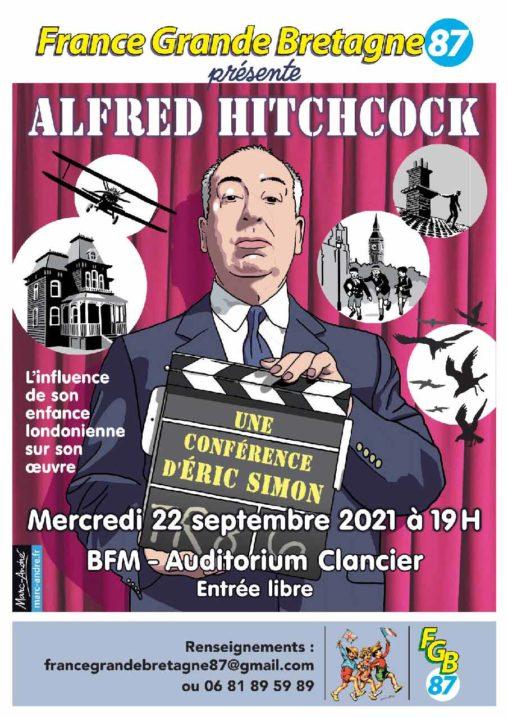 Flyer-Conférence-Alfred Hitchcock- Influence enfance londonienne sur son œuvre -22 septembre 2021 - France-Grande-Bretagne 87 - Marc-André BD Illustration Graphisme Limoges
